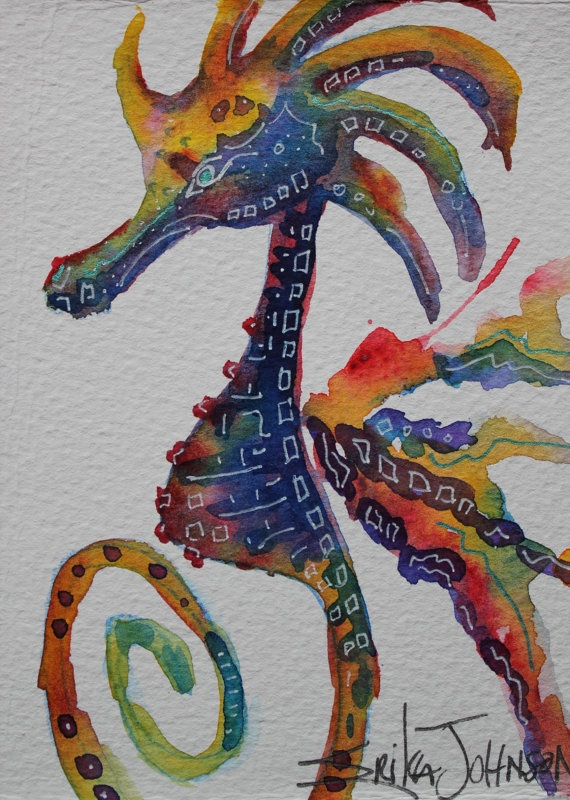 Vibrant Watercolor Seahorse Painting by by ErikaJohnsonGallery, $17.50
