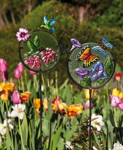 Hummingbird and butterfly decorative garden stakes by for Decorative garden stakes