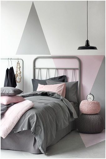 This bedroom consists of soft, calming tones along with geometric print on the wall. This interior could easily be altered to suit either the 'Scandi Princess' or 'Geometric Breeze' trend.