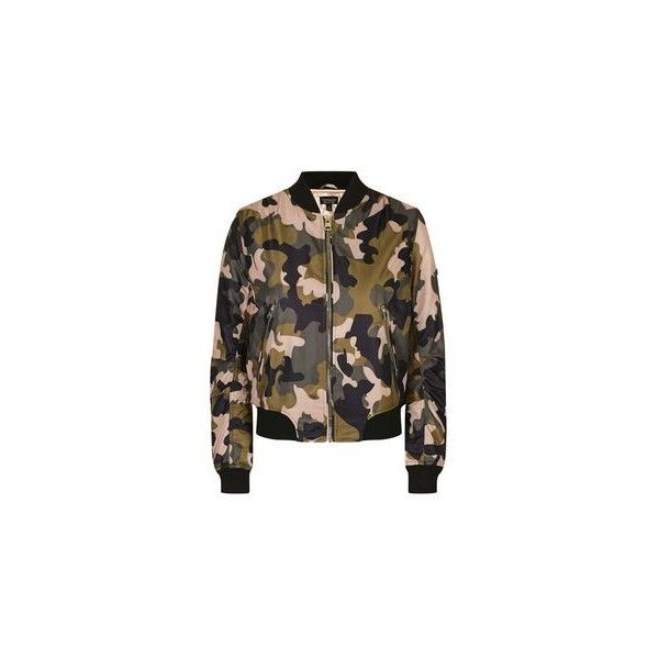 TopShop Pink Camo ma1 Bomber Jacket ($55) ❤ liked on Polyvore featuring outerwear, jackets, pink flight jacket, camoflage jacket, brown utility jacket, camo bomber jacket and pink camouflage jacket