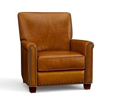 Irving Leather Recliner With Bronze Nailheads, Polyester Wrapped Cushions,  Leather Indigo Blue