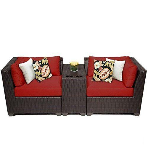 Tk Classics 3 Piece Barbados Outdoor Wicker Patio Furniture Set