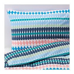 IKEA - MOSSFLOX, Duvet cover and pillowcase(s), Full/Queen (Double/Queen), , Cotton feels soft and nice against your skin.Concealed snaps keep the comforter in place.