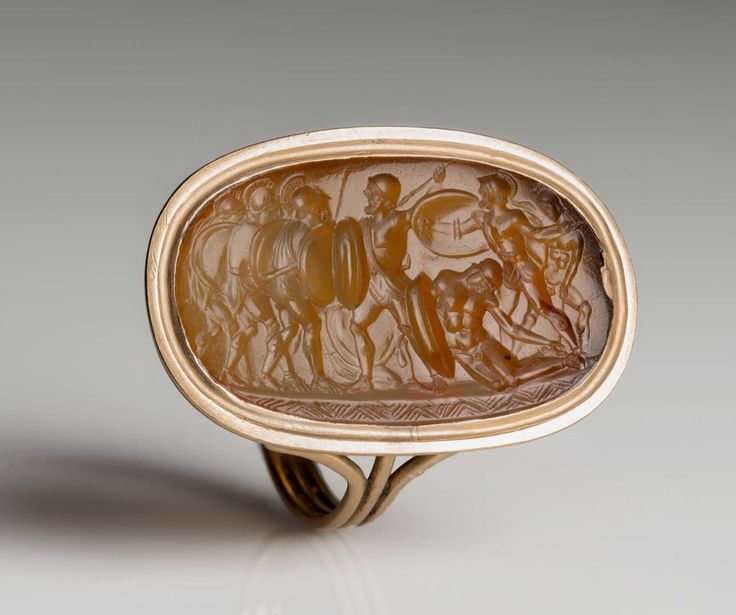 Oblong gem with the fight over the body of Achilles | Sard, 3rd cent. B.C.