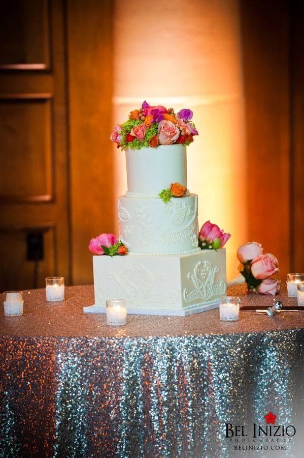 Paisley wedding cake! Coral flower!