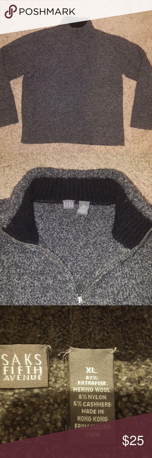 Saks Fifth Avenue Sz XL Gray Wool Sweater In excellent condition Saks Fifth Avenue Sweaters