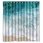 """66""""(Width) x 72""""(Height) Sea Water Shower Curtain, Beach Shore Wave Theme Design 100% Polyester Bathroom Shower Curtain Shower Rings Included -Best Visual Enjoyment For You"""