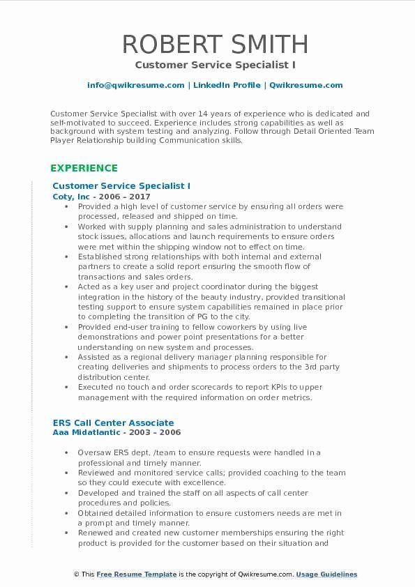 Customer Support Specialist Resume Inspirational Customer Service Specialist Resume Samples Security Resume Good Resume Examples Resume