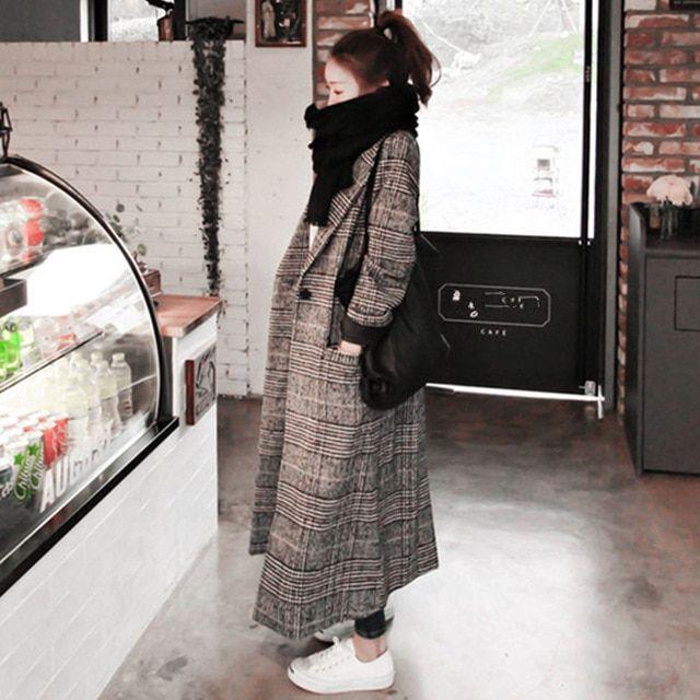 Women Autumn Winter Woollen Coat Long Sleeve Turn-Down Collar Plus Size Jacket