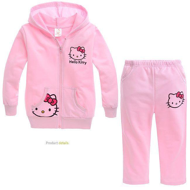 Девочка осень весна длинный рукав розовый спорт костюм девочки hello kitty балахон комплект одежда 5 комплект / много