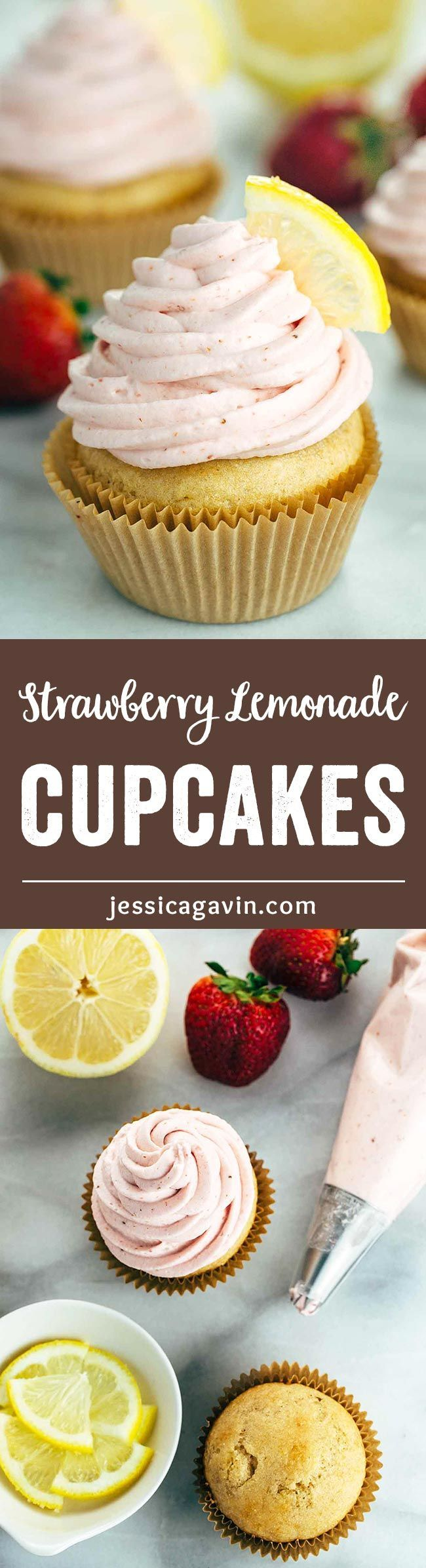 Strawberry Lemonade Cupcakes - These zesty lemon cupcakes are topped with fresh strawberry whipped cream for a light and fruity dessert. The perfect summertime treat! | www.jessicagavin.com