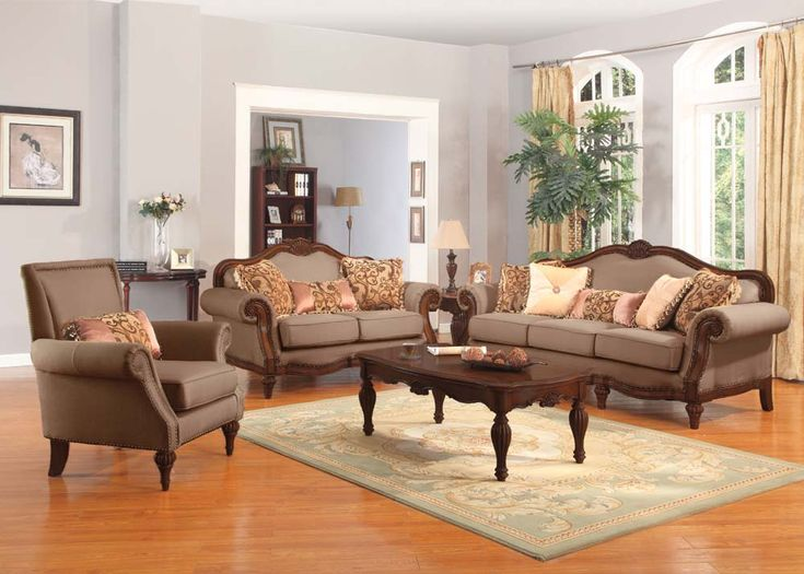 Acme 50675 Archaise Amber Chenille Fabric Upholstery With Decorative Wood  Finish Traditional Sofa Set
