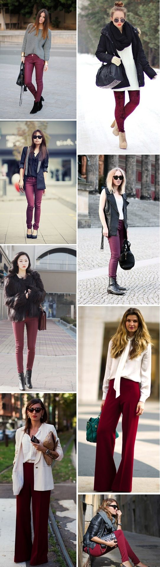 burgundy pants; add navy striped shirt, leopard scarf/flats, & shambray shirt somewhere in there too