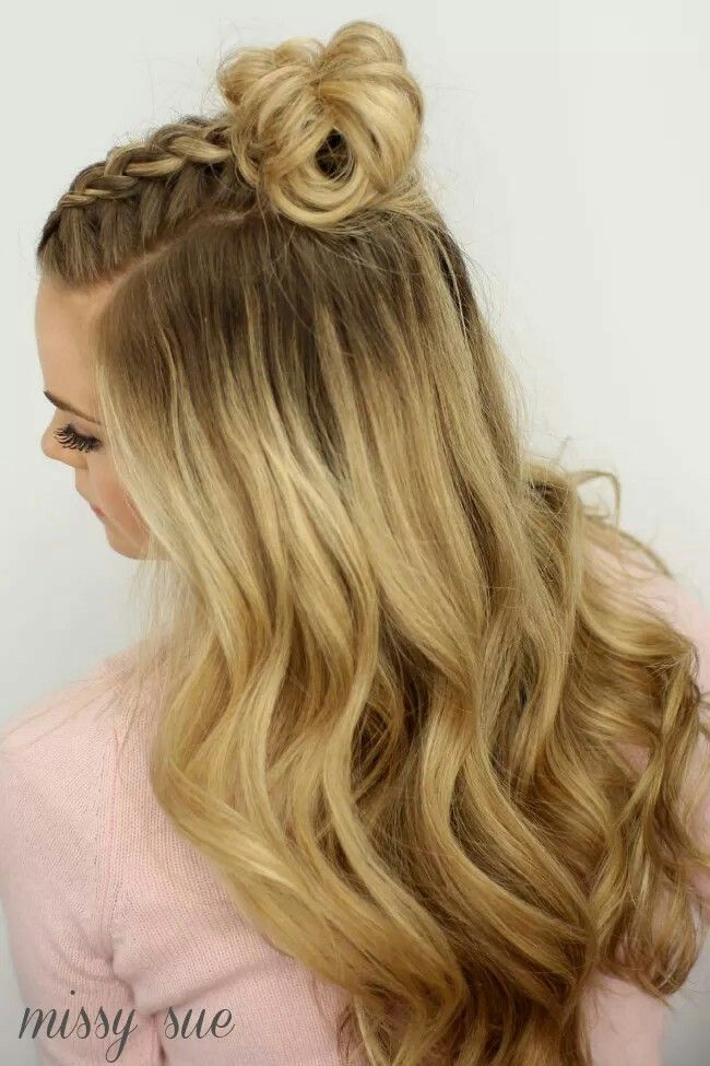 Mohawk Braid half up dutch braid messy bun