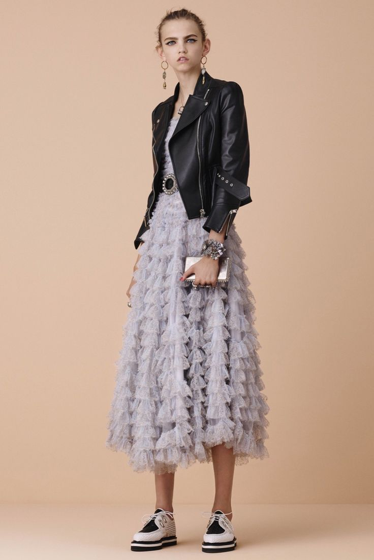 Petite Ruffled Lilac Grey Dress with a Black Leather Short Coat - Alexander McQueen Resort 2016 Collection Photos - Vogue