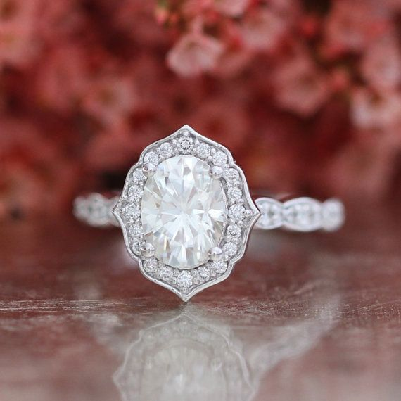 Forever One Moissanite Vintage Floral Engagement Ring in 14k White Gold…