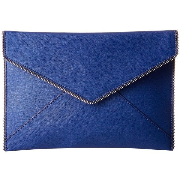 Rebecca Minkoff Leo Clutch (Cobalt) ($95) ❤ liked on Polyvore featuring bags, handbags, clutches, saffiano leather handbags, rebecca minkoff clutches, rebecca minkoff, rebecca minkoff purse and blue handbags