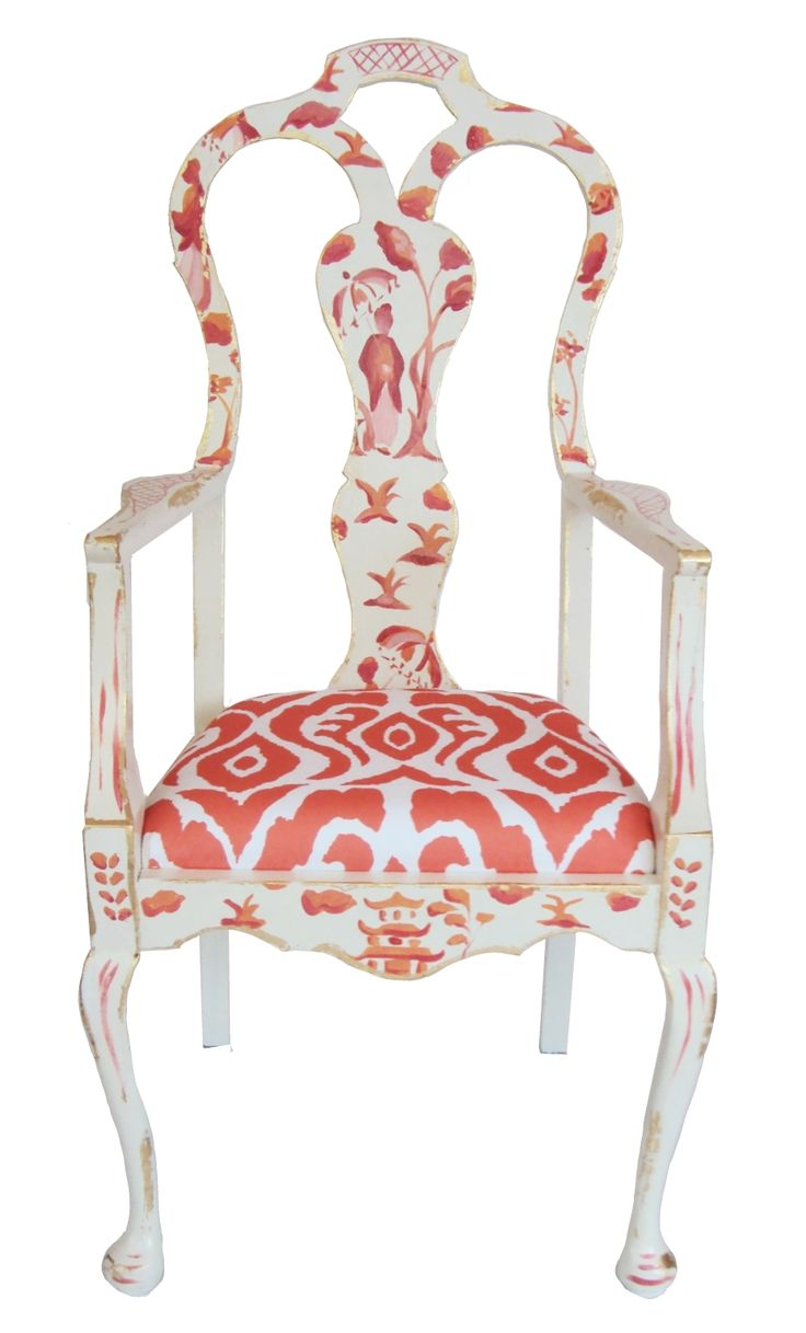 What a lovely update that could be done to an old brown chair....bring the fabric design and color onto the painted wood frame....k......Bespoke Chinois Chair by Dana Gibson