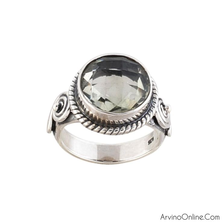 Sterling Silver Antique Ring With Green Amethyst Gemstone