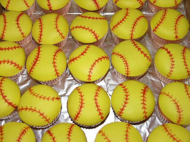 Softball Cupcakes by Cakes by Jeana, via Flickr