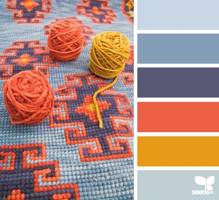 Colored Yarn-Inspired Color Palette -- warm coral hues with relaxing shades of blue. | design-seeds.comWall Colors, Colors Combos, Design Seeds, Living Room, Seeds Colors, Colors Palettes, Painting Colors, Colors Yarns, Colors Inspiration