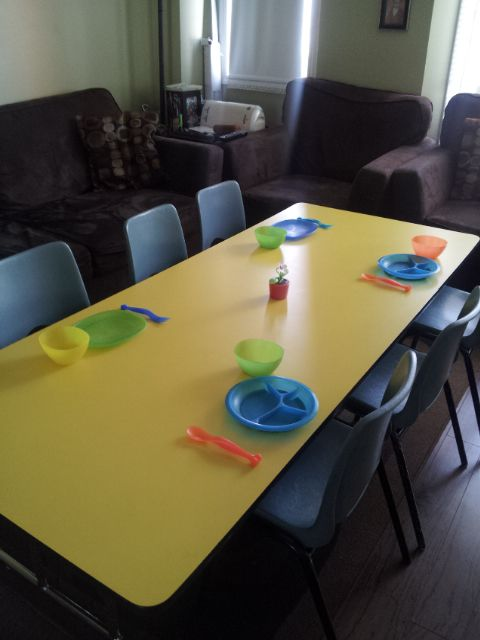 eating and arts/crafts table