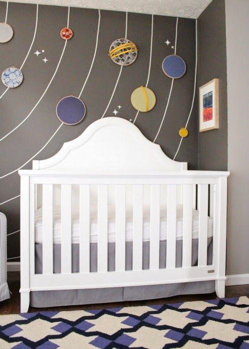 Ideas creativas con bastidores decoración cuarto bebé con sistema solar