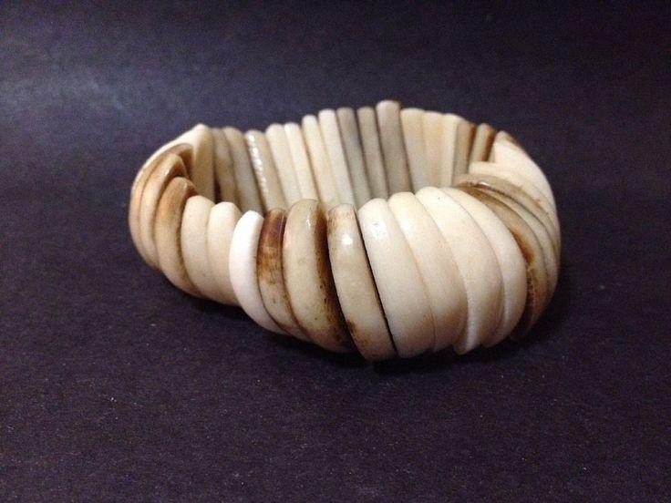 Estate Find - Vintage Bone? Wood? Bracelet - Stretchy