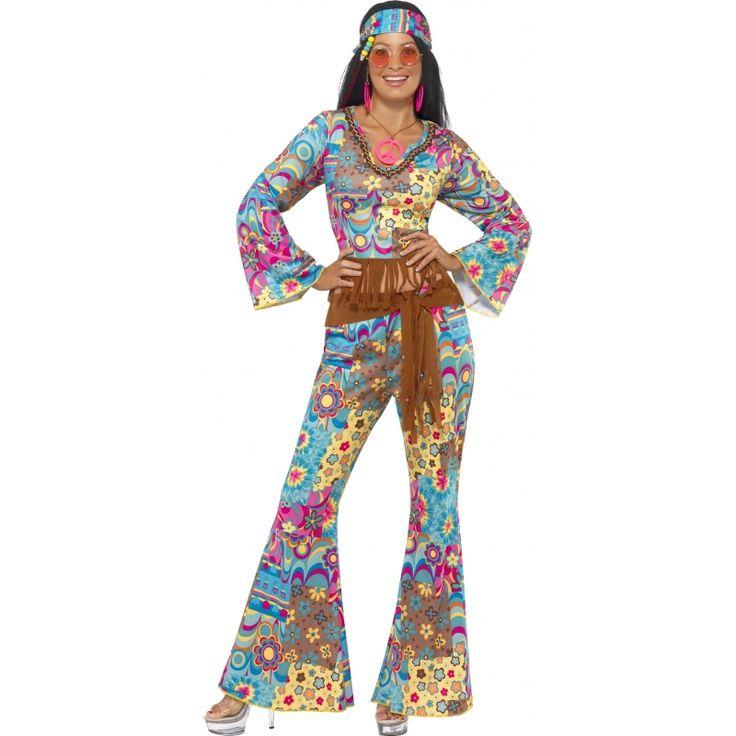 Flower power pak voor dames  Gekleurde flower power kleding voor dames. Deze vrolijk gekleurde flower power kleding bestaat uit een broek met wijduitlopende pijpen een korte top met lange mouwen bruine riem en de haarband. De broek en de top hebben een flower power print in verschillende kleuren. Verder in de webshop staan meer jaren '60 en hippie outfits. Materiaal: 100% polyester.  EUR 34.95  Meer informatie