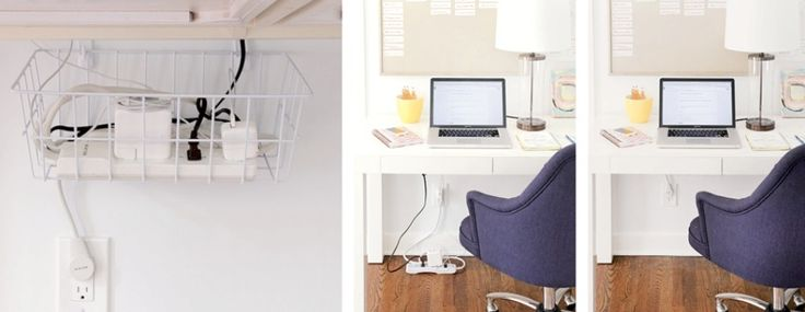 basket for office cord organization