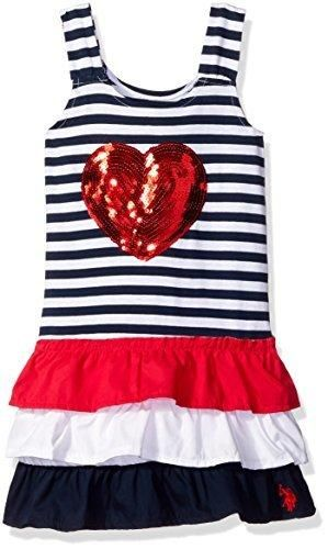 U.S. Polo Assn. Girls' Toddler Girls' Striped Ruffle Tank Dress Engine Red/Navy 4T