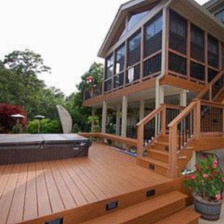 An Unmistakably Beautiful Hot Tub Deck With A Screened In