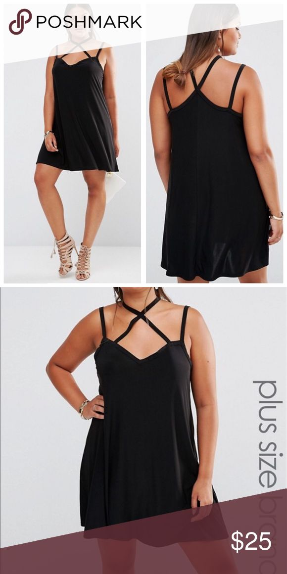 Boohoo black swing cami dress Brand new - size US 20. Sexy black dress perfect for your summer nights out! ASOS Curve Dresses Mini