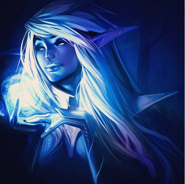 Crowfall game, Elf FrostWeaver class, fan art by Larissa Angus. You can check her Instagram for more awesome art ( https://www.instagram.com/veilofspaceandstars/ ) or see more on the official game site: https://crowfall.com/  #Crowfall #gaming #MMO #PvP #MMORPG #RPG #multiplayer #online #PC #sexy #girl #girls #woman #women #art #illustration #elf #elves #elfs #magic #games #game #painting #poster  #blonde #fantasy #sorcery #witch #sorceress