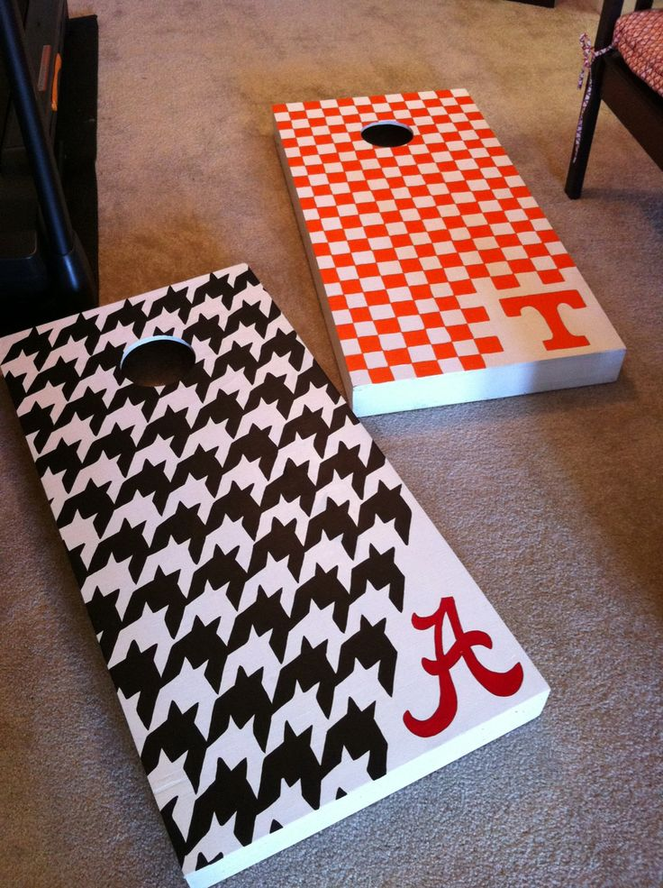 Ready for football season- Totally redoing our corn hole boards- Texas A vs UGA!