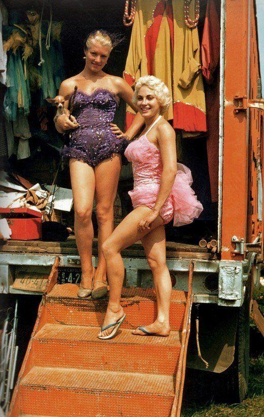 antique colour pix of circus women