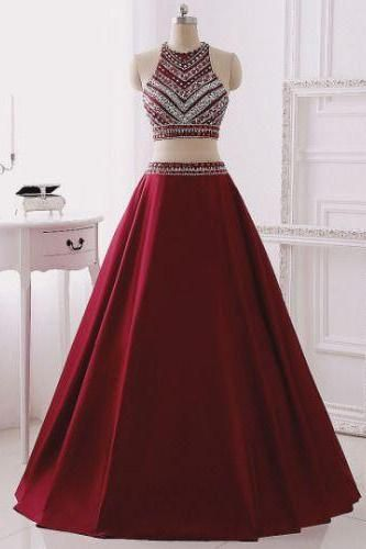 Two Pieces Prom Dresses,Long Prom Dresses For Teens,Burgundy Two Pieces Prom Dresses,Beading A line Prom Dresses