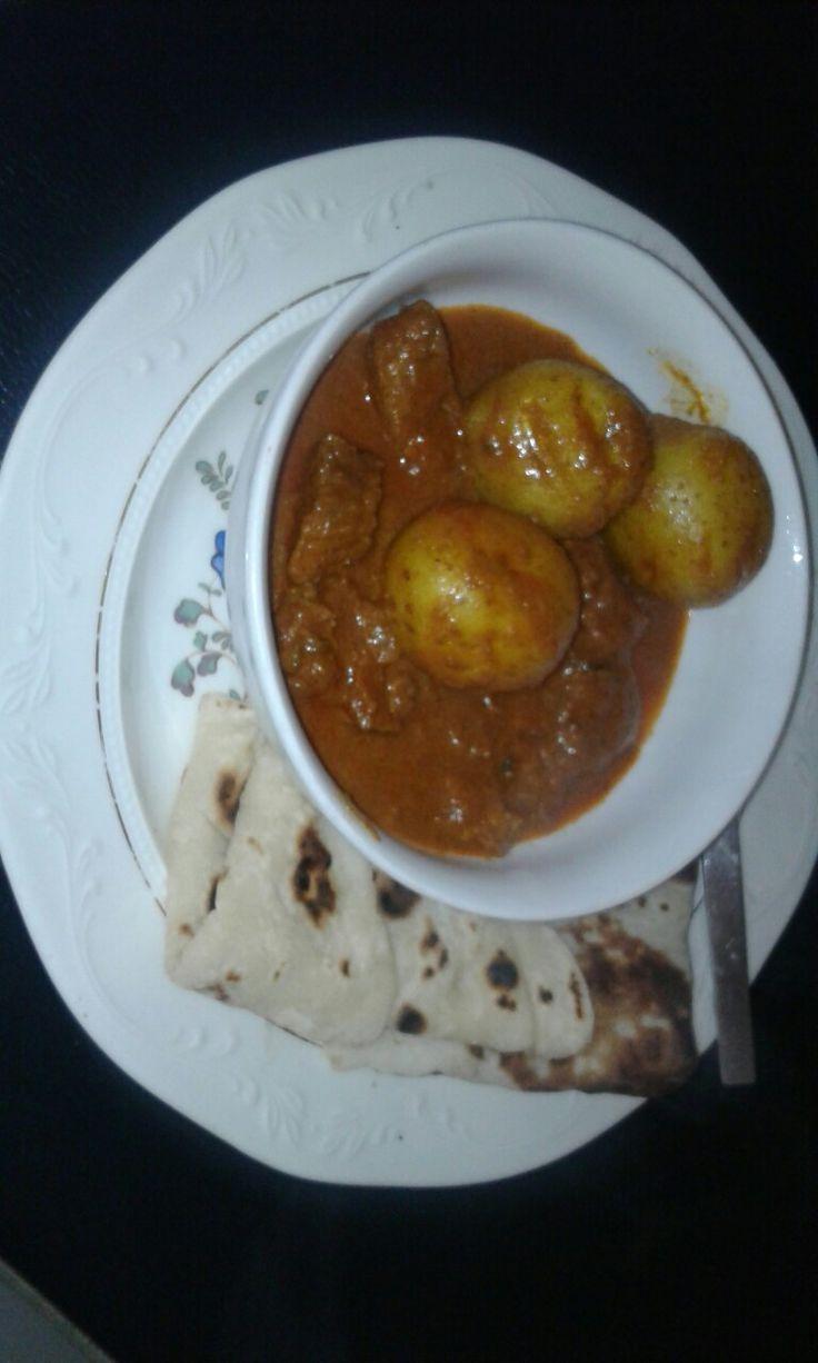 Simple beef curry n Roti bread.