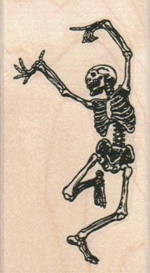 Rubber stamp Halloween dancing skeleton bones  by pinkflamingo61, $9.75