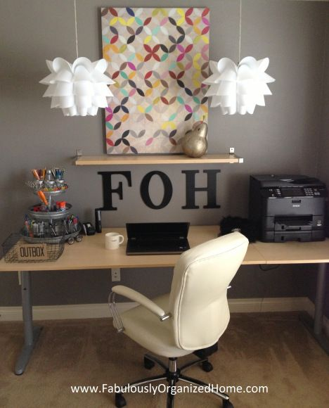 my organized home office tour | Fabulously Organized Home. Love the color, chair, and chandey