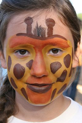 easy giraffe face paint idea, I would make it into a mask and use a pouncer to make it go faster...