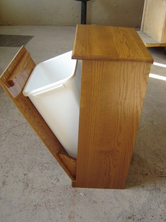 New Solid Oak Wood Kitchen Garbage Bin Recycling Trash Can Storage Bin