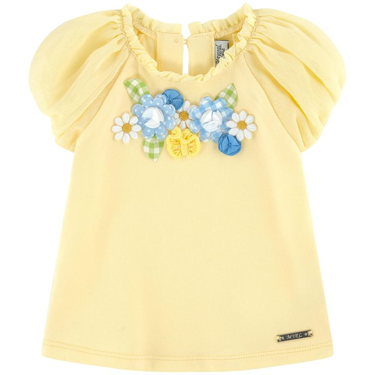 Cotton milano jersey Sleeves: Cotton voile Light item Crew neck Raindrop opening in the neck Raglan short sleeves Puff sleeves Button in the neck Fabric flowers Logo plate - $ 27