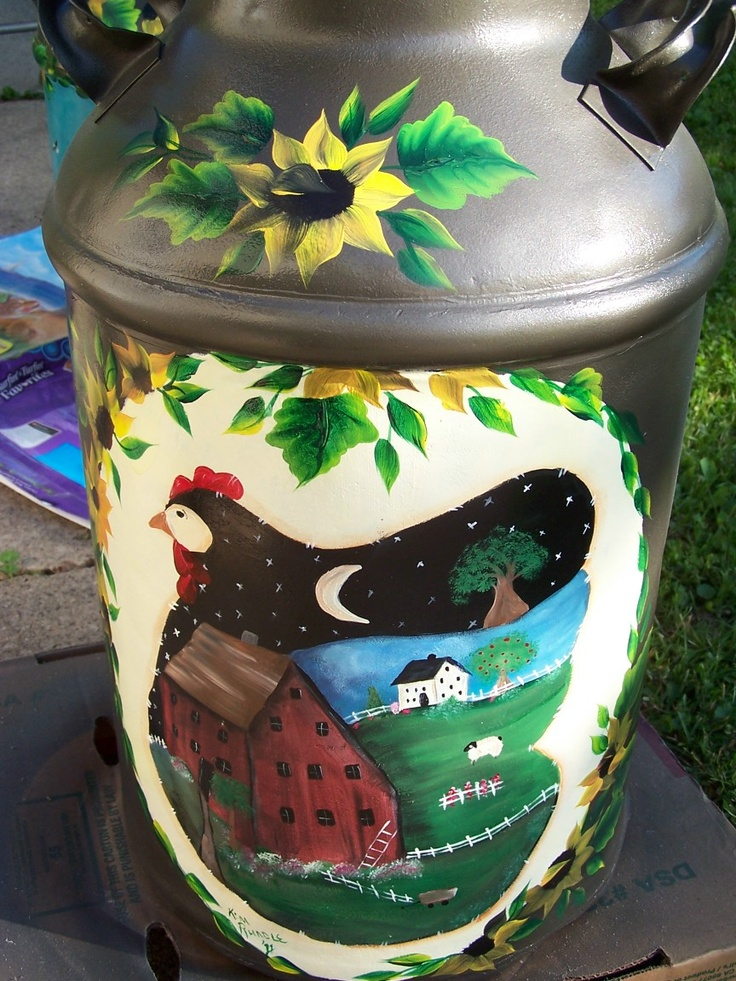 One Stroke Painted Milk Cans - Walk with G.R.A.C.E  Cancer Benefit Donations - Arts by the Kickapoo