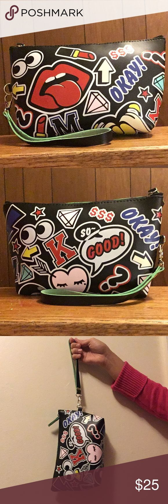 Graffiti cartoon make up bag Graffiti cartoon make up bag / clutch . New in package. Super cute, the hand strap is removable. Bags Mini Bags