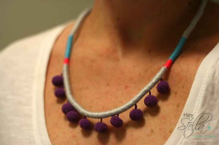 Purple Pop Pom Pom. Necklace   Available online at www.hey-stella.com