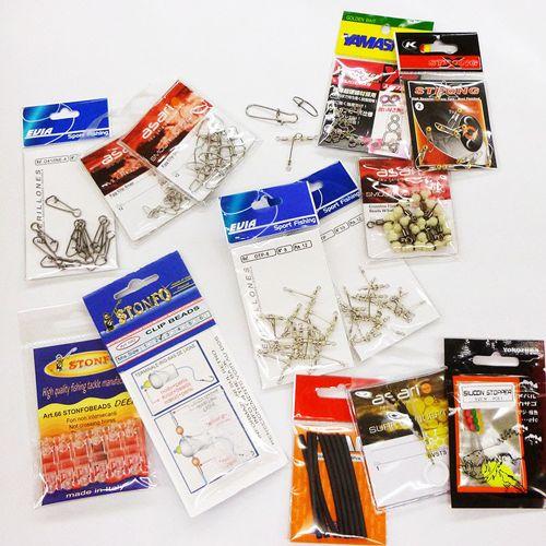 Accesorios para el montaje de bajos, perlitas, quitavueltas, stoppers, clips...