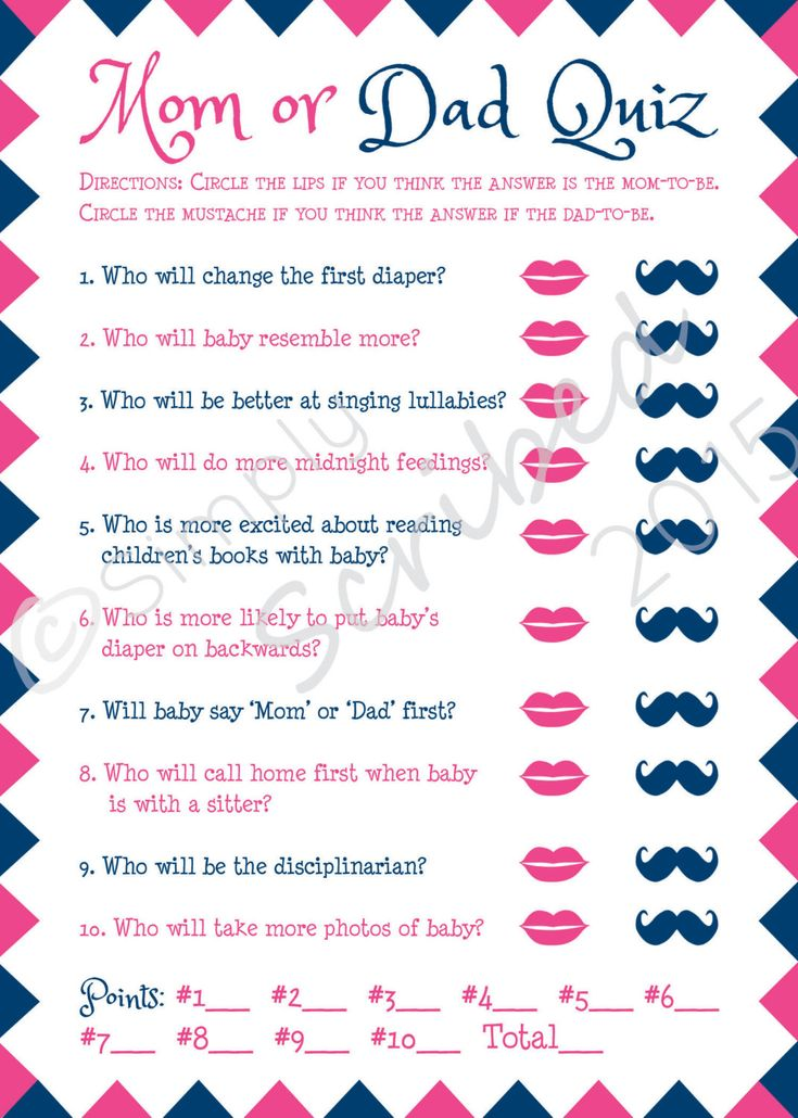 Printable Baby Shower Game Mom or Dad Trivia by SimplyScribed