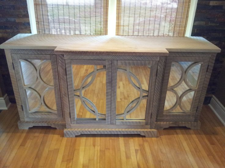 Reclaimed Rough Sawn Wood Console Buffet Wood On Mirror