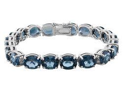 44.00ctw Oval London Blue Topaz Sterling Silver Line Bracelet
